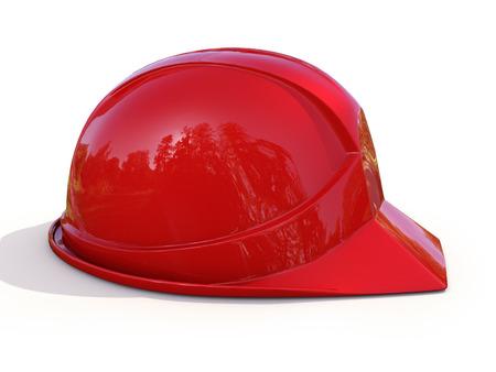 Red work helmet on white background. Hard hat