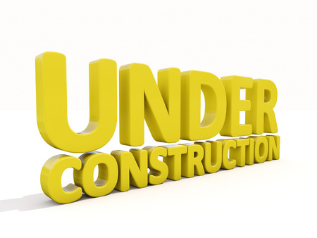 reconsideration: Sign under construction isolated  on white background Stock Photo