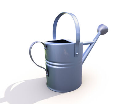 solicitude: Watering can made of metal on white background Stock Photo