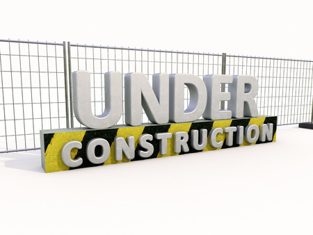 major overhaul: Sign under construction and fence  on white background Stock Photo