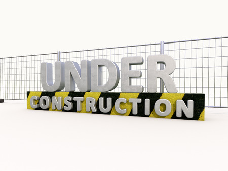 reconsideration: Sign under construction and fence  on white background Stock Photo