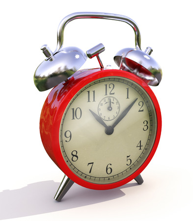 nicety: Classic alarm clock on a light background. Stock Photo