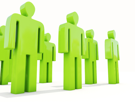 subservience: A crowd of people on a white background Stock Photo
