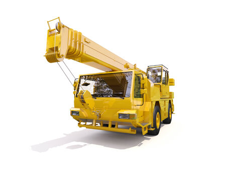 facilitate: Truck Mounted Crane on white background