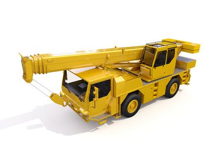 白い背景の上のトラック搭載クレーン