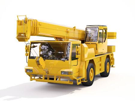 mobile crane: Truck Mounted Crane on white background