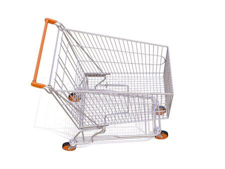 shopping buggy: Empty shopping cart isolated on white background