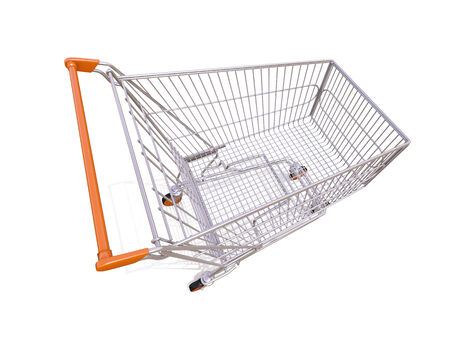acquirer: Empty shopping cart isolated on white background