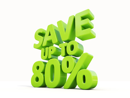 merchandize: The phrase Save up to 80% on а white background