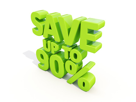 merchandize: The phrase Save up to 90% on а white background