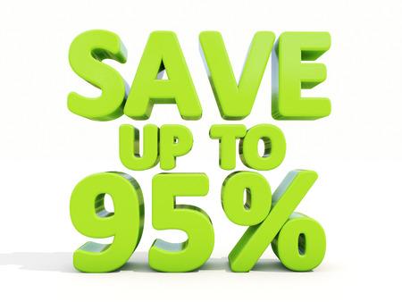 merchandize: The phrase Save up to 95% on %u0430 white  Stock Photo