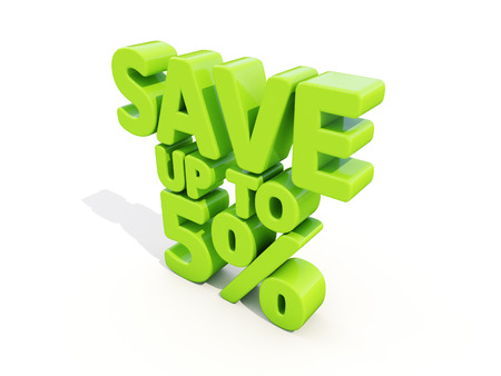 merchandize: The phrase Save up to 5% on а white background