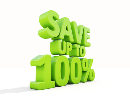 selloff: The phrase Save up to 100% on а white background Stock Photo