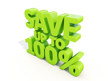 merchandize: The phrase Save up to 100% on а white background Stock Photo