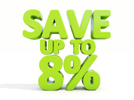 The phrase Save up to 8% on а white background photo
