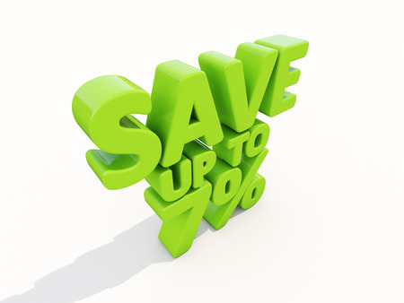 selloff: The phrase Save up to 7% on а white background Stock Photo