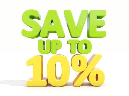The phrase Save up to 10% on %u0430 white  photo