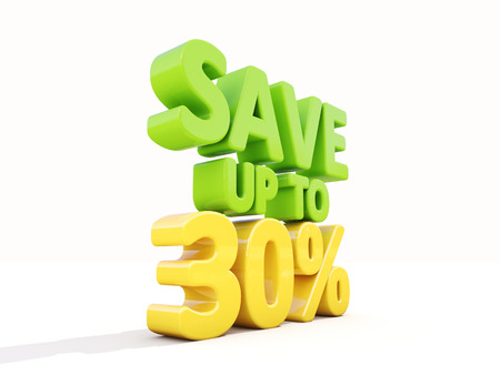 selloff: The phrase Save up to 30% on а white background
