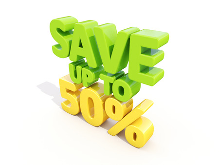 selloff: The phrase Save up to 50% on а white background