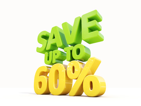 merchandize: The phrase Save up to 60% on а white background