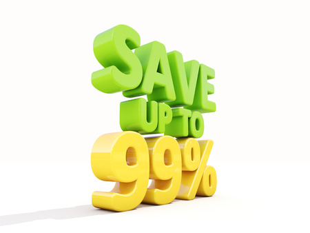 99: The phrase Save up to 99% on а white background
