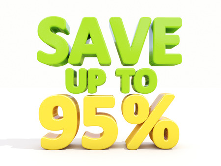 The phrase Save up to 95% on а white background photo