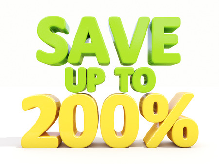 selloff: The phrase Save up to 200% on %u0430 white  Stock Photo