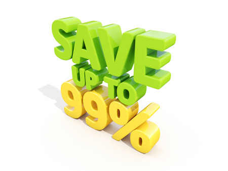 99: The phrase Save up to 99% on %u0430 white  Stock Photo