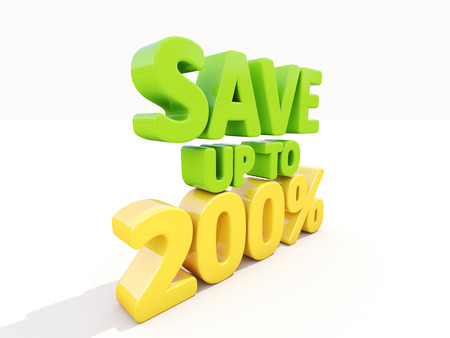 The phrase Save up to 200% on %u0430 white  Stock Photo