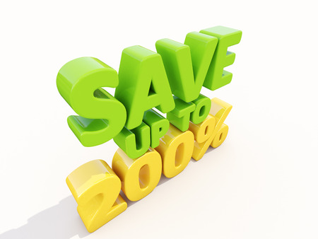 selloff: The phrase Save up to 200% on а white background