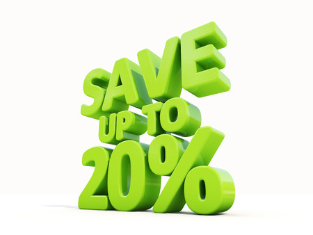 merchandize: The phrase Save up to 20% on а white background