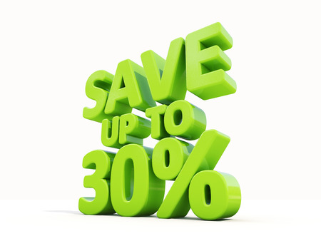 merchandize: The phrase Save up to 30% on а white background