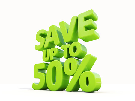 merchandize: The phrase Save up to 50% on а white background