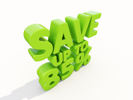 selloff: The phrase Save up to 85% on а white background Stock Photo
