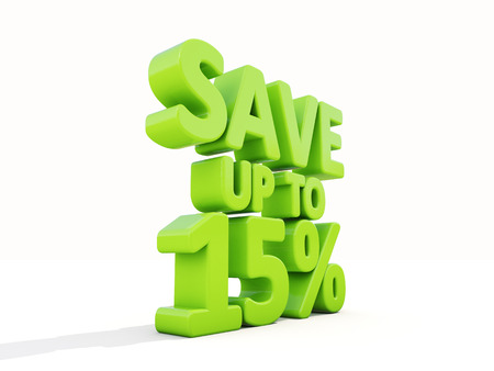 selloff: The phrase Save up to 15% on а white background Stock Photo