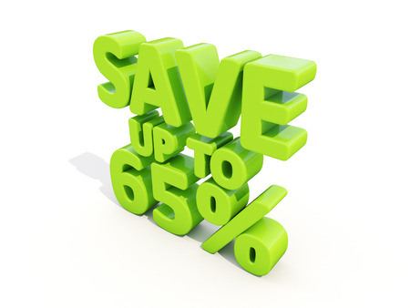 merchandize: The phrase Save up to 65% on а white background