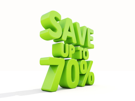 merchandize: The phrase Save up to 70% on а white background