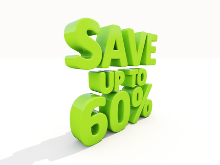The phrase Save up to 60% on а white background