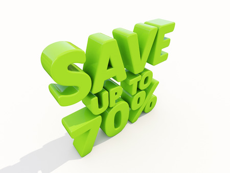 selloff: The phrase Save up to 70% on а white background