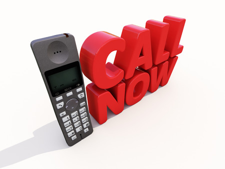 subservience: Phone services online. Call us right now Stock Photo