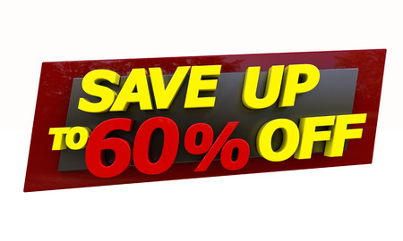 selloff: The phrase Save up to % on a white background