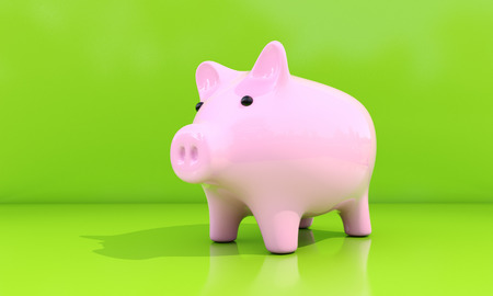 thrift box: Shiny pink piggy bank on a green background