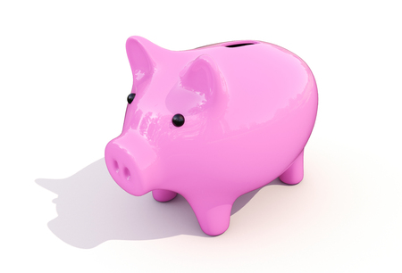 prudent: Shiny pink piggy bank on a white background