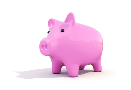 thrift box: Shiny pink piggy bank on a white background