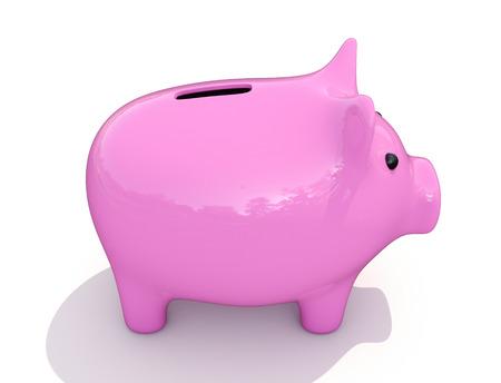 parsimony: Shiny pink piggy bank on a white background
