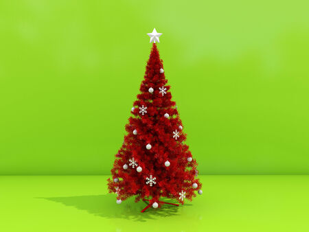 Decorated Christmas tree on a green background photo