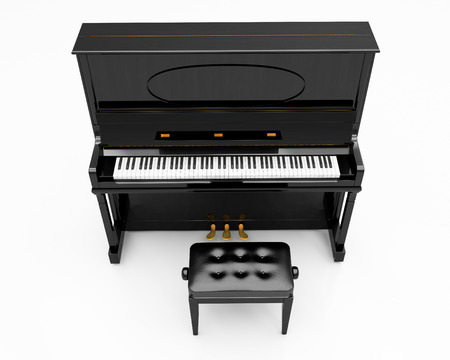 upright piano: Upright piano on light background in studio