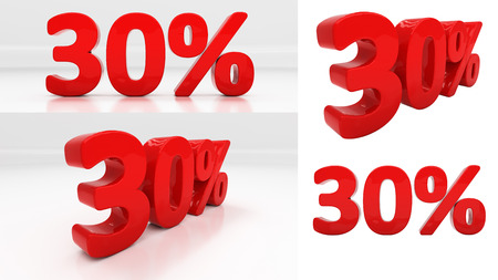 thirty percent off: Thirty percent off. Discount 30. 3D illustration Stock Photo