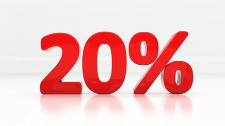 half cent: Twenty percent off. Discount 20.  Percentage. 3D illustration