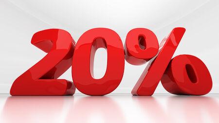 compounding: Twenty percent off. Discount 20.  Percentage. 3D illustration